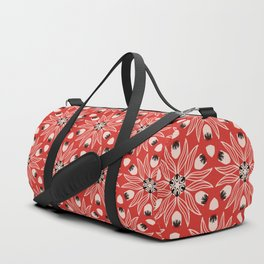 Vintage Poppy Red and Old Cream Drawn Flower Linear, with Black Seed Pods Floral Duffle Bag