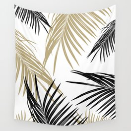 Gold Black Palm Leaves Dream #1 #tropical #decor #art #society6 Wall Tapestry