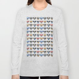 Cute Skulls No Evil II Pattern Long Sleeve T-shirt