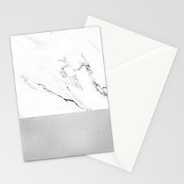 White Marble with Black and Grey Silver Stripe Stationery Cards
