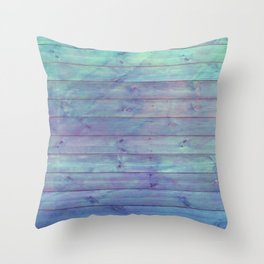 purple and green distressed stained painted wood board wall Throw Pillow