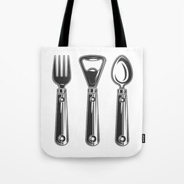 Life set. Lover to eat. Hungry. Glutton. Food Lover. Spoon and a fork. Heavy eater. Eat. Food. Tote Bag