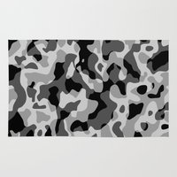 military Area & Throw Rugs featuring Grey Camouflage Army Military Pattern by BluedarkArt