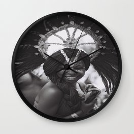 caribana street party toronto festival black & white photo girl smiling Wall Clock
