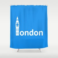 london Shower Curtains featuring London by Flat Design