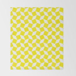 Yellow Op Art Pattern Throw Blanket