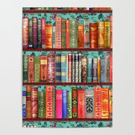 Vintage Books / Christmas bookshelf & holly wallpaper / holidays, holly, bookworm,  bibliophile Poster