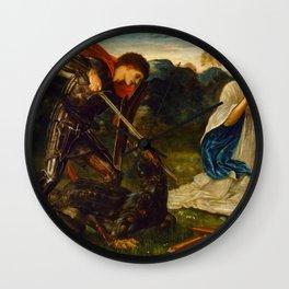 """Edward Burne-Jones """"The fight - St. George kills the dragon"""" Wall Clock"""
