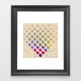 Vibrant button polka dots on texture Framed Art Print