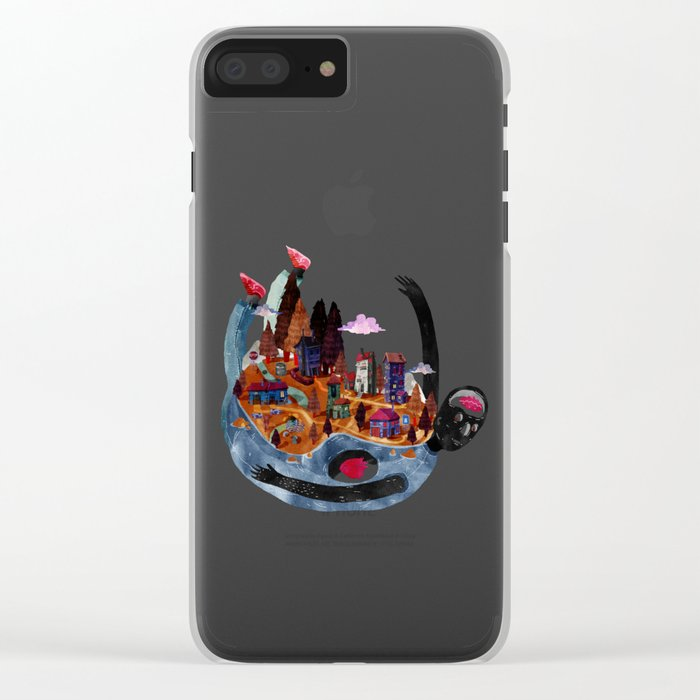 falling village Clear iPhone Case