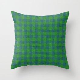 Abeytes, Blue Stone on Forest Green, Ungulate Plaid Throw Pillow