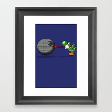 Yoshi eats the DS Framed Art Print
