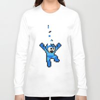 megaman Long Sleeve T-shirts featuring Megaman Tetris by D-fens
