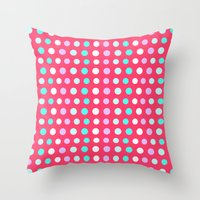 polka dots Throw Pillows featuring Polka Dots by Ornaart