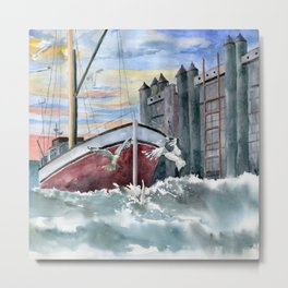 Boat and Gulls  Metal Print