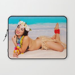 """""""Sandy Shores"""" - The Playful Pinup - Tropical Beach Pin-up Girl by Maxwell H. Johnson Laptop Sleeve"""