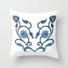 Blue Paisley Heart Throw Pillow