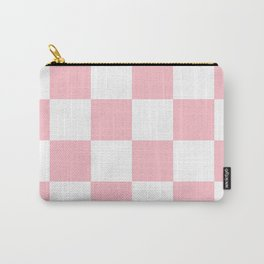 Large Checkered - White and Pink Carry-All Pouch