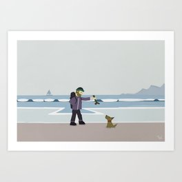 Dog on Beach Wall Art, Beach Art Nursery Decor, Nursery Wall Art for Boys Room Art Print