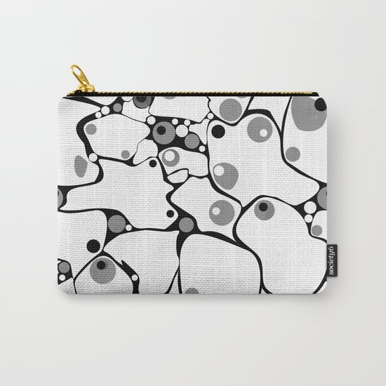 Abstract black and white polka dot pattern 2 .White background . Carry-All Pouch