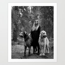 Cecilie and the wolfhounds. Art Print