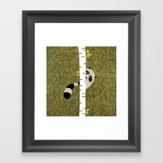 A shy raccoon Framed Art Print