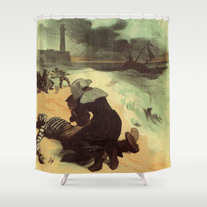 Vintage French Drowned Sailors Charity Advertising Shower Curtain