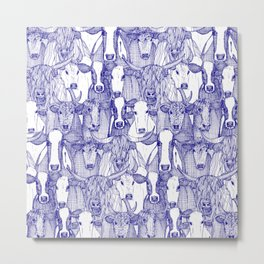 just cattle blue white Metal Print