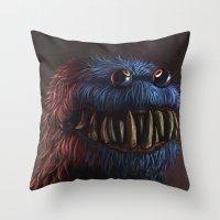 cookie monster Throw Pillows featuring Cookie Monster by Adrián Retana