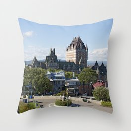 Old Quebec City featuring Château Frontenac Throw Pillow