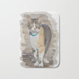CALICO CAT WATERCOLOR Bath Mat