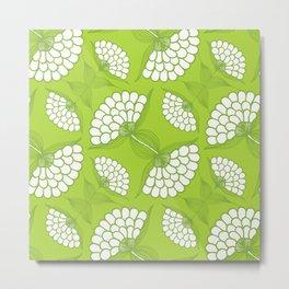 African Floral Motif on Green Metal Print