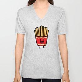 Happy French Fries potato frites fried junk food Unisex V-Neck