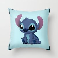chibi Throw Pillows featuring Chibi Stitch by Katie Simpson a.k.a. Redhead-K