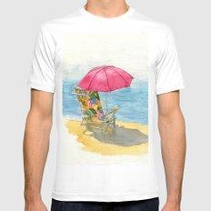 Beach Chair White MEDIUM Mens Fitted Tee
