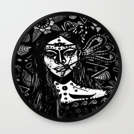 Andromedan Goddess B & W Wall Clock