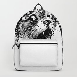 Freaky Cat B&W / Late 19th century illustration of very surprised cat Backpack