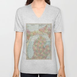 Vintage Map of Michigan (1901) 2 Unisex V-Neck