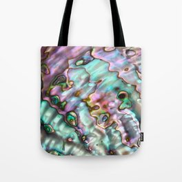 Glowing Cotton Candy Pink & Green Abalone Mother of Pearl Tote Bag