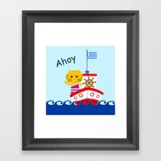 Greek Cat on Sail Framed Art Print