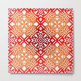 Tribal Tiles II (Red, Orange, Brown) Geometric Metal Print