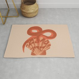 Snake and seashell, burnt orange sierra tattoo inspird illustration Rug