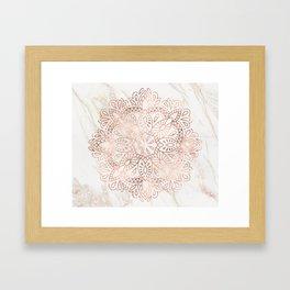 Rose Gold Mandala Marble Framed Art Print