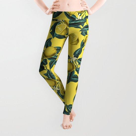 Lemon and Leaf Pattern III Leggings
