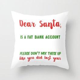 Dear Santa - Funny Christmas Letter Throw Pillow