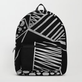 Modern geometrical black faux silver blush chic pattern Backpack