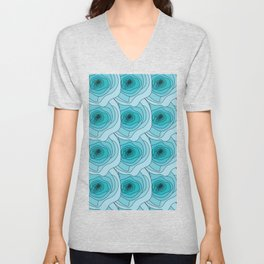 Abstract Roses Turquoise Unisex V-Neck