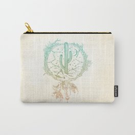 Desert Cactus Dreamcatcher Turquoise Coral Gradient Carry-All Pouch
