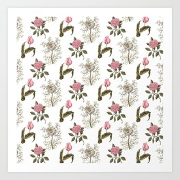 Pink and White Vintage Floral Pattern Art Print
