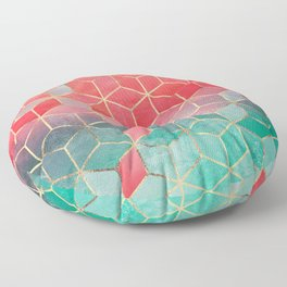 Rose And Turquoise Cubes Floor Pillow